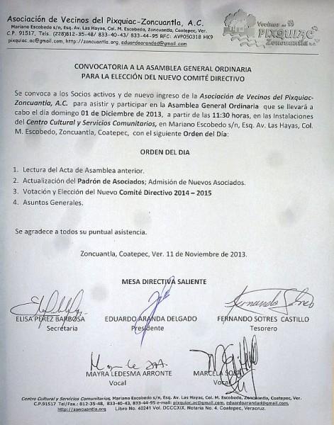 Convocatoria Asamblea 01 Dic 2013