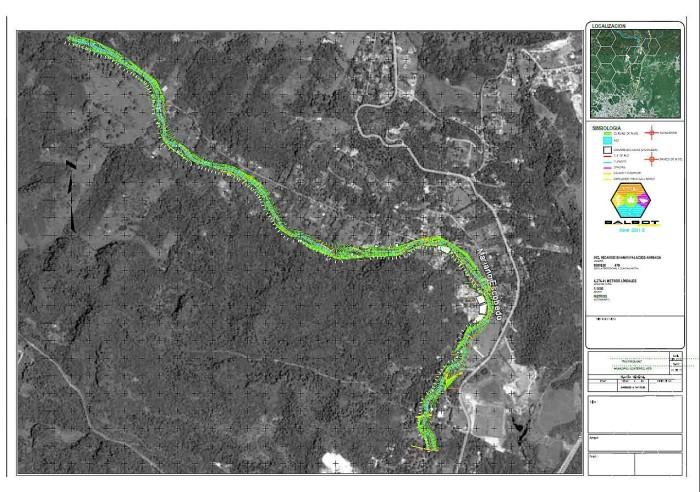 Levantamiento Topográfico del rio Pixquiac realizado por Balbot Contructora