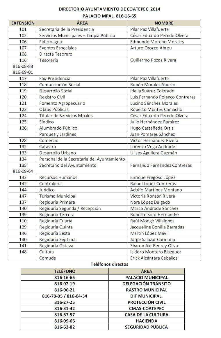 Directorio Ayntamiento Coatepec 2014